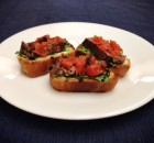 Beef Tenderloin Bruschetta with Goat Cheese, Arugula, and Roasted Tomatoes