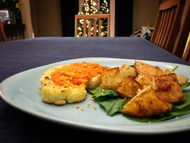 Cauliflower Steaks with Red Pepper Romesco Sauce & Crispy Breadcrumbs