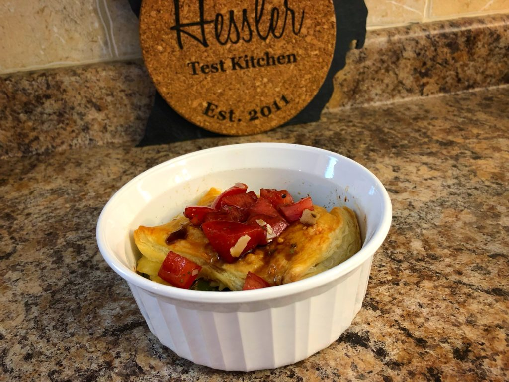 Farfalle & Asparagus Alfredo Pot Pie with Balsamic Tomatoes