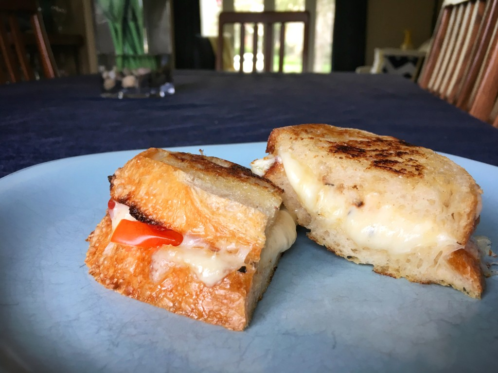 Grilled Three-Cheese with Tomato, Basil, & Honey